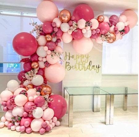 バルーン飾りセット☆ローズ・ピンク「sweet sixteen(スイートシックスティーン、スイート16)」
