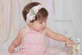 お花×パール×レース☆ピンクとモスグリーンのヘッドドレス