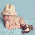 小さなカウボーイ★かぎ針編みのハット&ブーツのセット Newborn-6months