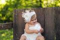 美ロンパース&フラワーファーレースヘッドドレス☆ライトアイボリー♪nrwborn-3T