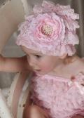 ベビービーニーレース帽子ピンク