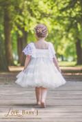 ホワイトワンピースドレス☆グレイアンティークローズ添え