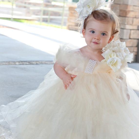 スイートアイボリー 至福のチュチュドレス「Sweet Ivory Bliss Girls Tutu Dress」0歳から6歳