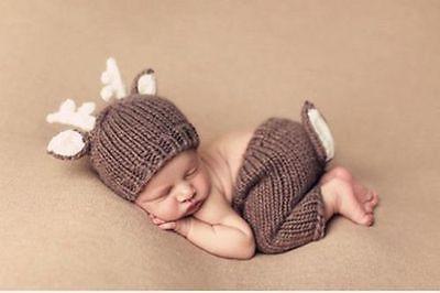 トナカイに変身★かぎ針編みのトナカイ帽子&しっぽ付きズボンのセット Newborn-3months