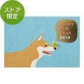 【限定】ポストカード 箔 年賀 柴犬とセキセイインコ柄 2018(91803512)