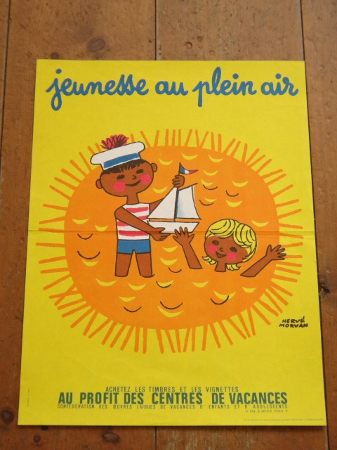 エルベ モルバン ビンテージポスター Jeunesse au plein air 1972年 Herve Morvan