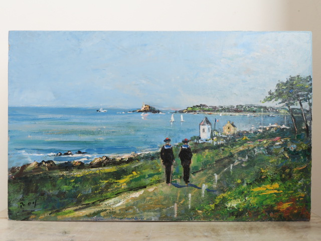 アクリル画 ブルターニュ地方 ブレストの水兵 ROY 風景画