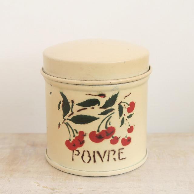 アンティーク チェリー キャニスター缶 Poivre