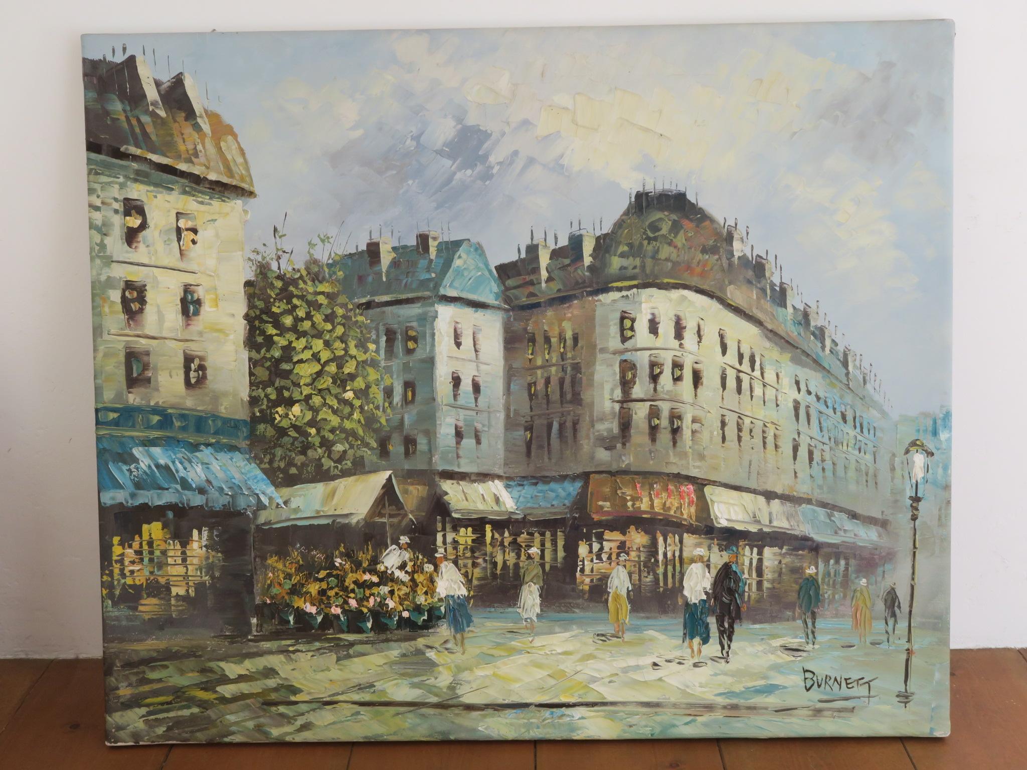 BURNETT パリの風景 花屋 油絵 油彩画