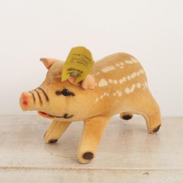 アンティーク シュタイフ ウリボウ イノシシ Steiff Young wild boar 7cm