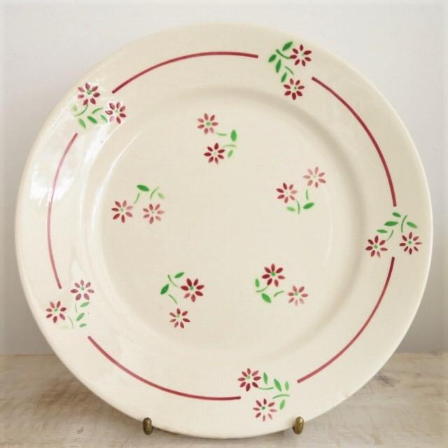 アンティーク皿 小花のステンシル Badonviller製