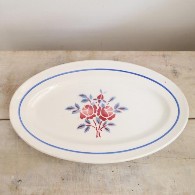 アンティーク オーバル皿 ラヴィエ バラ ST AMAND