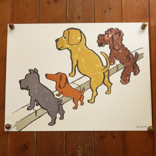 サヴィニャック 4匹の犬 ポスター CAMPAGNE POUR LA PROPRETE DES VILLES