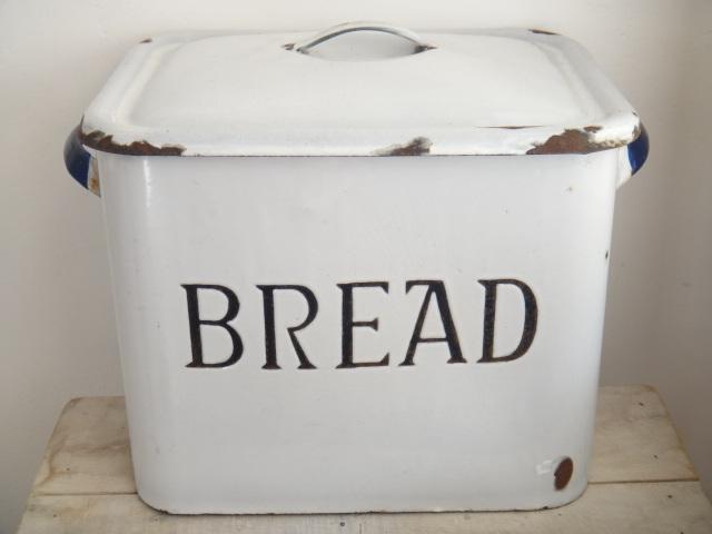 アンティーク ホウロウ BREAD 缶