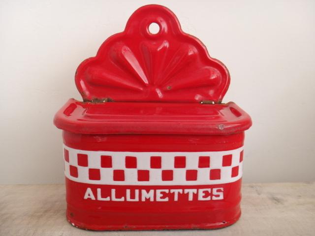 フランス アンティーク ALLUMETTES 缶 マッチ入れ