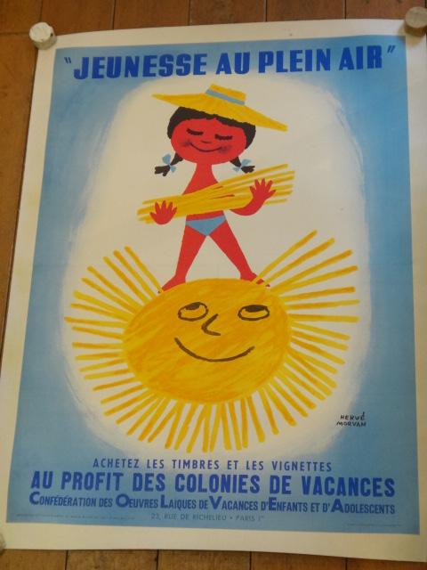 エルベ モルバン ビンテージポスター Jeunesse au plein air 1963年 Herve Morvan