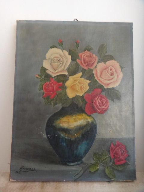 フランス アンティーク 油絵 1931年 Bouquet de Rose