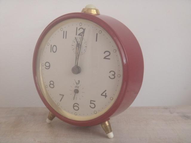JAZ ビンテージ 目覚まし時計 ワインレッド