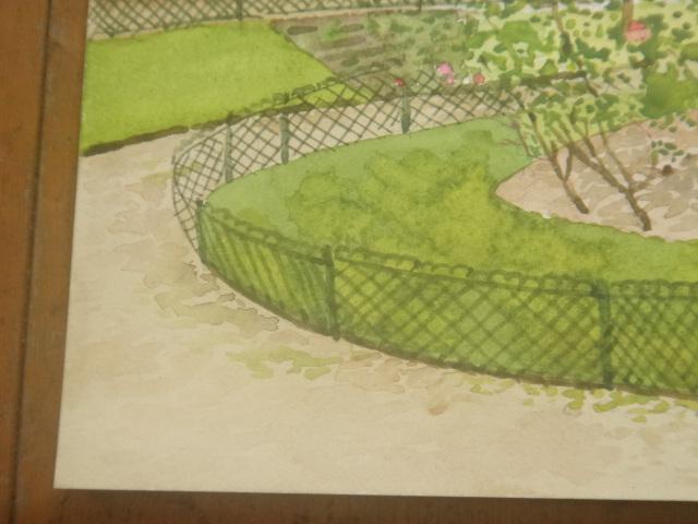 水彩画 パリ3区 ジョルジュ・カーン公園 by Pascale