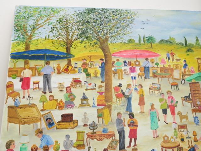 油絵 油彩画 大きな蚤の市 IONESCO