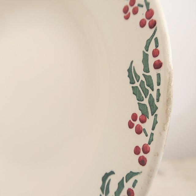 ヒイラギのアンティーク深皿 Creil et Montereau製