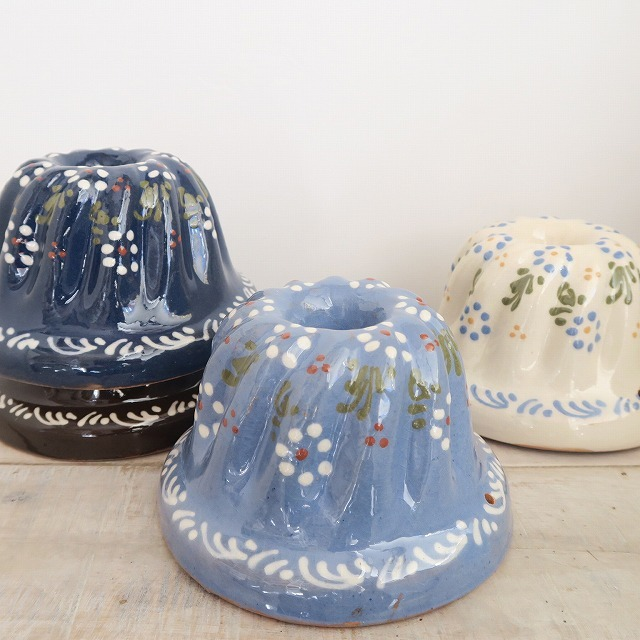 クグロフ型 アルザス地方 スフレンハイム焼き 陶器製 花柄 14cm Sサイズ