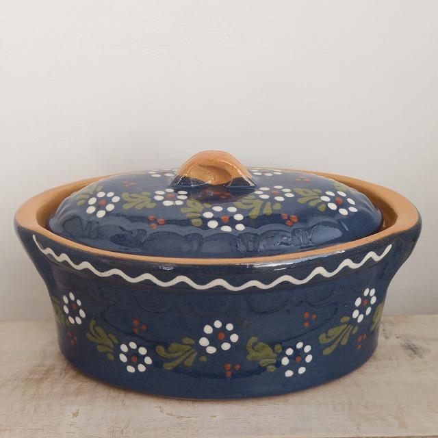 ベッコフ鍋 アルザス地方 スフレンハイム焼 陶器製 花柄 21cm