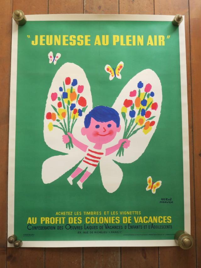 エルベ モルバン ビンテージポスター 1965年 Jeunesse au plein air Herve Morvan
