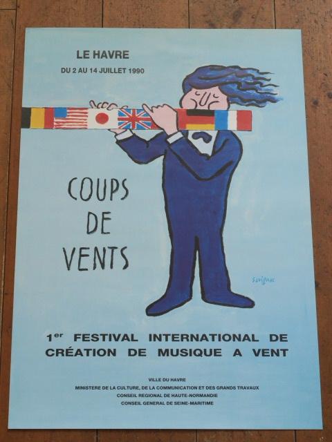 サヴィニャック オリジナルポスター Le Havre COUPS DE VENTS Savignac