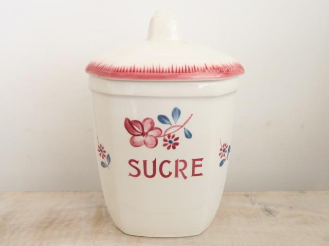 フランス アンティーク キャニスター 砂糖入れ MARGARET SUGRE Digoin Sarreguemines
