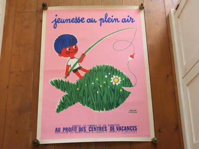 エルベ モルバン ビンテージポスター 1971年 Jeunesse au plein air Herve Morvan
