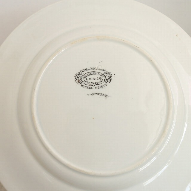 アンティーク皿 モントロー レリーフ Creil et Montereau