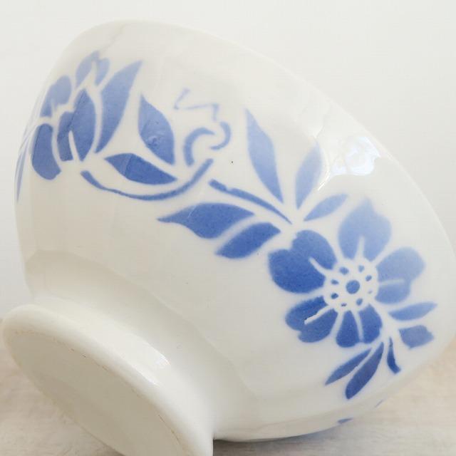 アンティーク 小さなカフェオレボウル 青い花 Moulin des Loups