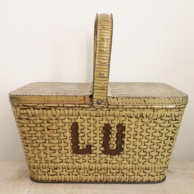 LU ビスケット アンティーク バスケット 缶 1930年