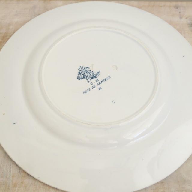 アンティークデザート皿 スイートピー Creil et Montereau製