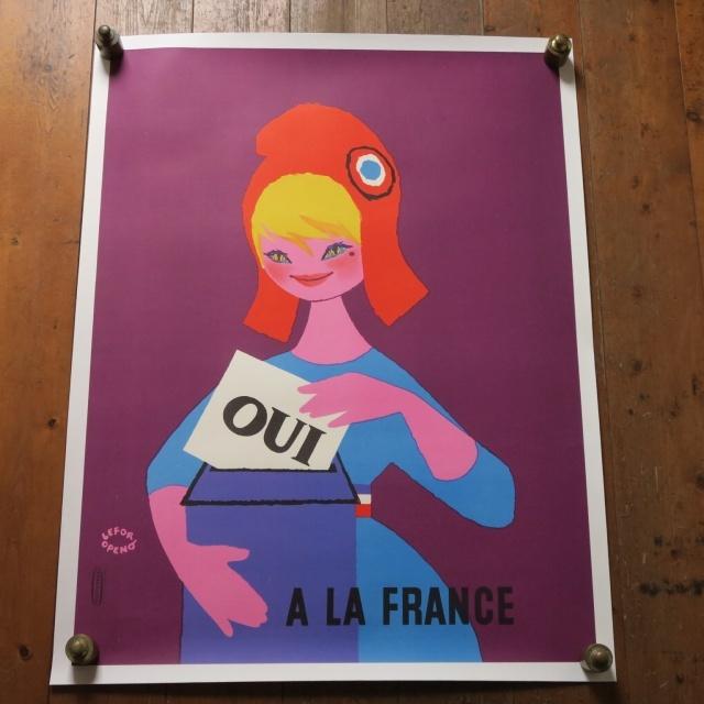 ルフォール・オプノ フランス大統領選挙 1958年 ヴィンテージポスター  Lefor Openo Oui a la France