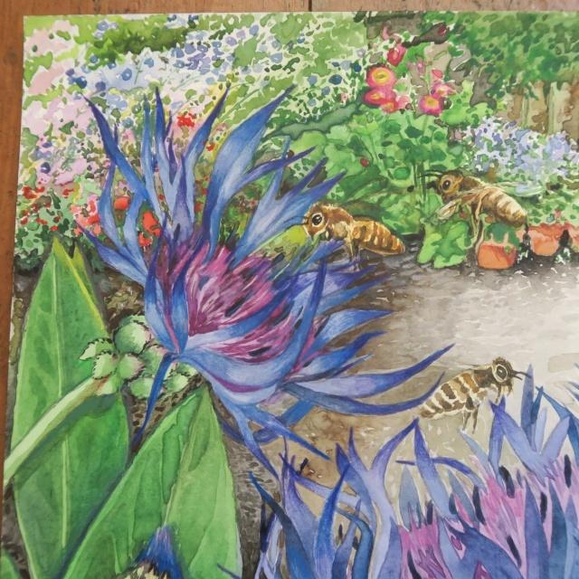 水彩画 ミツバチとヤグルマギク by Pascale