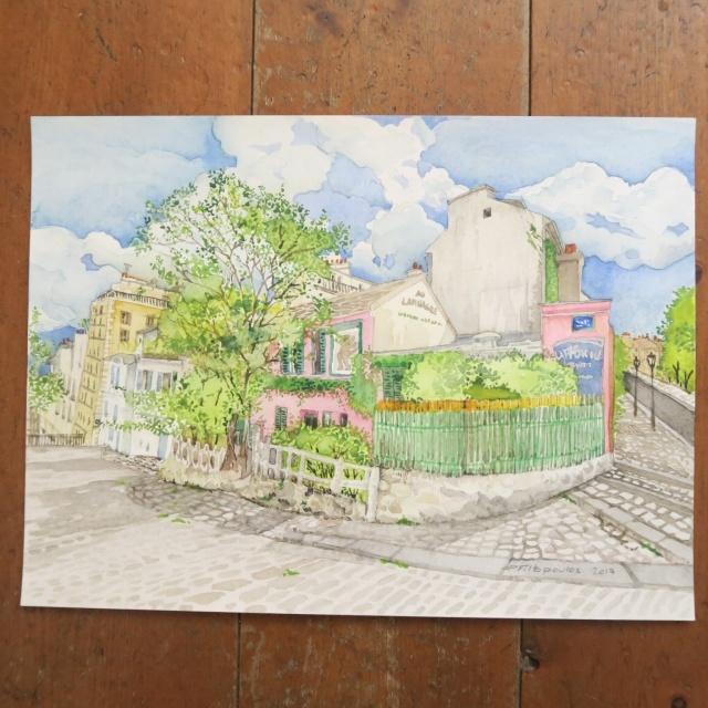 水彩画 モンマルトル ラパン・アジル by Pascale