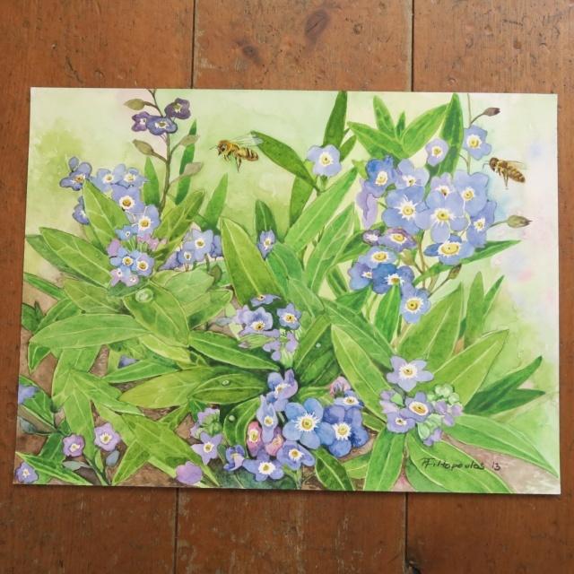 水彩画 ミツバチとワスレナグサ by Pascale