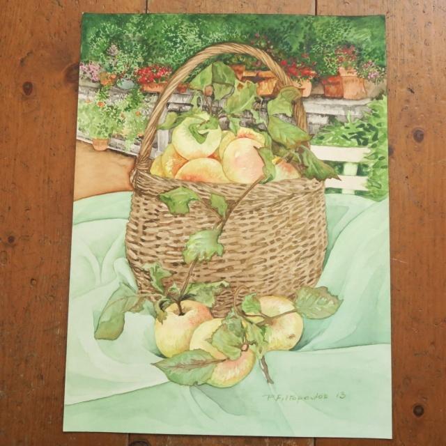 水彩画 リンゴ by Pascale