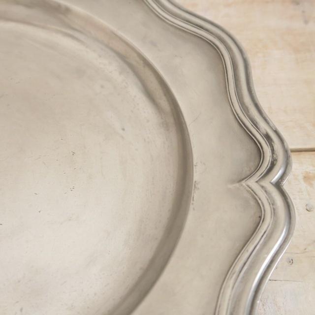フランス アンティーク 花リム ピューター プレート 大皿