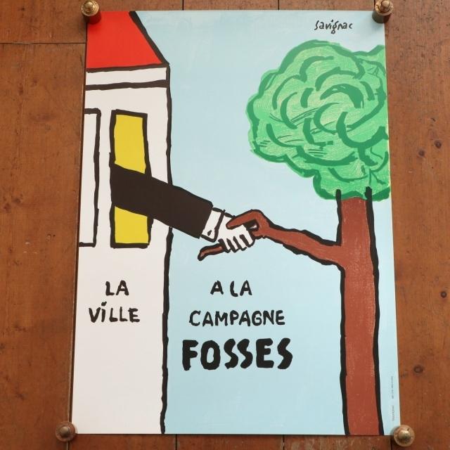 サヴィニャック オリジナルポスター LA VILLE A LA CAMPAGNE FOSSES