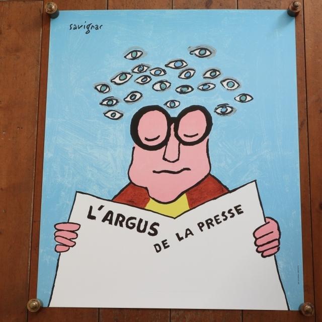 サヴィニャック オリジナルポスター Savignac L'ARGUS DE LA PRESSE