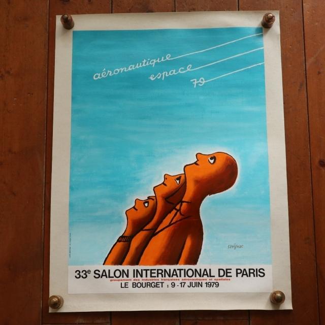 サヴィニャック パリ国際航空宇宙ショー ビンテージポスター Savignac AERONAUTIQUE ESPACE 1979