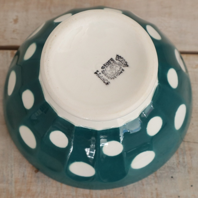 アンティーク カフェオレボウル ダークグリーン ドット 水玉 フランス ディゴワン&サルグミンヌ製 DIGOIN & SARREGUEMINES