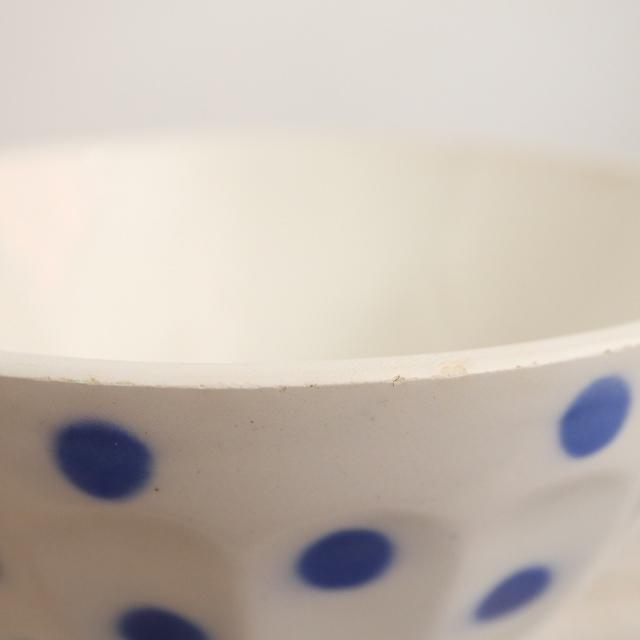 アンティーク カフェオレボウル 水玉 ブルー フランス Moulin des Loups製