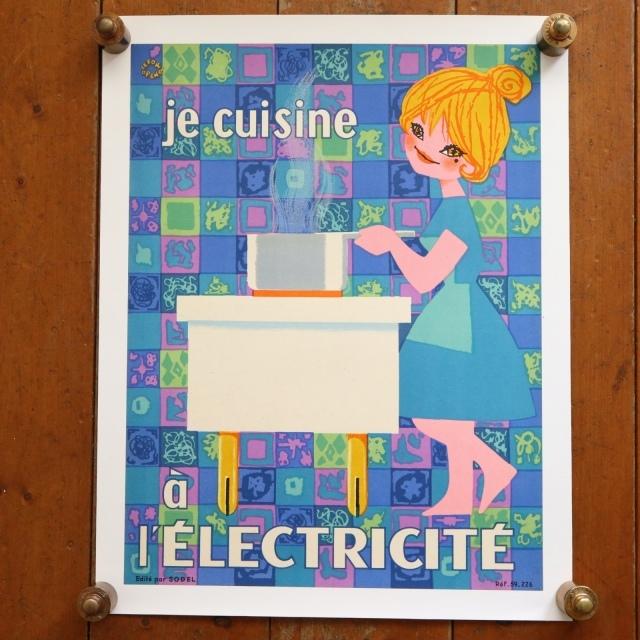 ルフォール・オプノ ビンテージポスター  Lefor Openo je cuIsine a l'ELECTRICITE