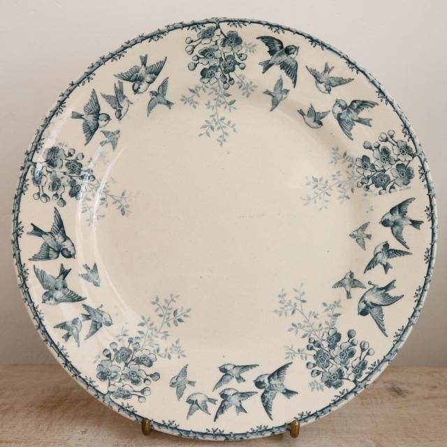 アンティーク プレート 小鳥とワイルドローズ アンティーク皿 MONTIGNY フランス ショワジールロワ製  CHOISY LE ROI