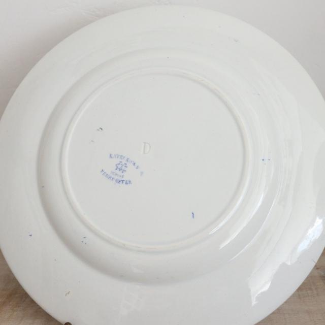 アンティークプレート デザート皿 KATECROWN フランス クレイユモントロー製 Creil Montereau