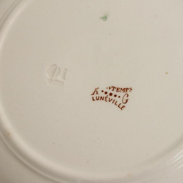 アンティークプレート デザート皿 PRINTEMPS フランス リュネヴィル製 KG Luneville